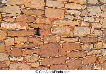 Primitive sandstone wall %u2013 texture - Hand-carved red...