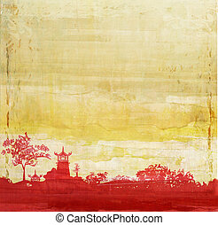 old paper with Asian Landscape - old paper with Asian...