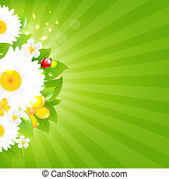 Bunch Of Flowers With Grass And Sunburst, Vector...
