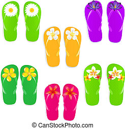 Flip Flops With Color Flowers - 6 Flip Flops With Flowers,...