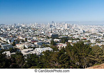 San Francisco Skyline - San Francisco dowtown skyline on a...