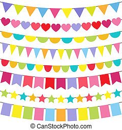 Vector Bunting - Vector colorful and bright bunting set