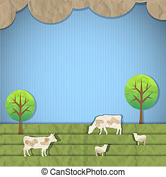 Landscape with sheeps,cows.Vector paper art