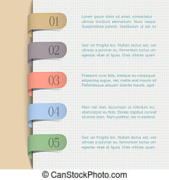 background with paper numbered tags - Vector background with...