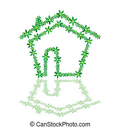 house with flower illustration