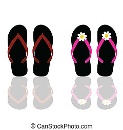 flip flop for beach for man and woman art vector...