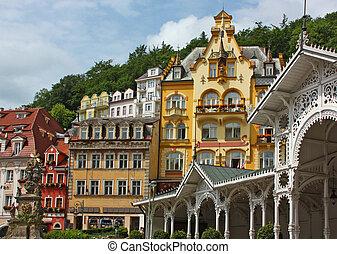 city centre of Karlovy Vary,Czech Republic - World-famous...