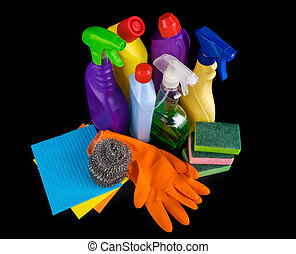 Subjects for sanitary cleaning a house on black background