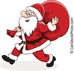 Santa Claus carrying big bag - Vector Illustration Of Santa...