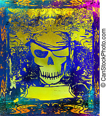 Skull Pirate - retro grunge card , raster