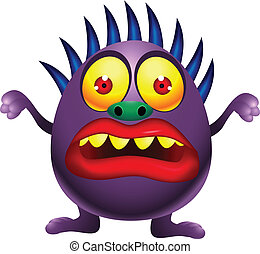 Purple monster cartoon - Vector Illustration Of Purple...