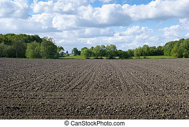 ploughed field under a nice cloudy sky