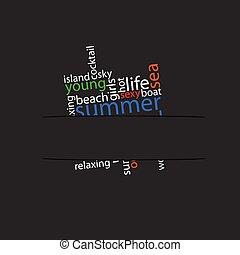 summer word in pocket illustration