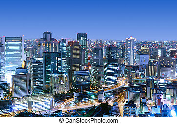 Osaka Japan - Dense skyline of Umeda District, Osaka, Japan