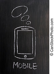Mobile phone and 4G concept drawn with white chalk on a...