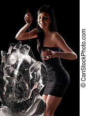woman and a crystal statue