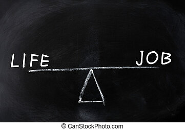 Balance of life and job - concept drawn on a blackboard