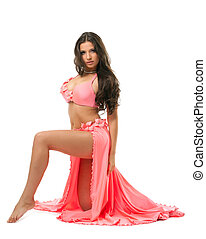 Beautiful oriental dancer in pink costume