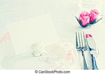 Table setting for romantic dinner or wedding