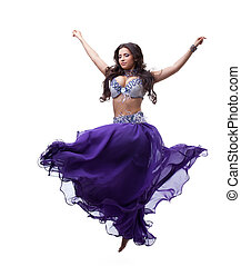 Oriental dancer in purple costume