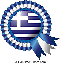 Rosette flag - Detailed rosette flag of Greece, eps10 vector...