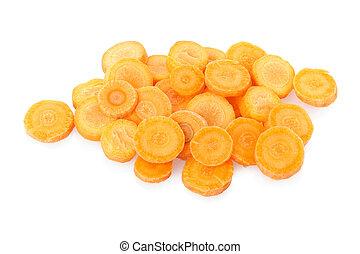 Sliced carrots on white