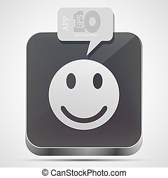 Vector face app icon with gray bubble speech. Eps10