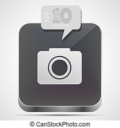 Vector camera app icon with gray bubble speech. Eps10