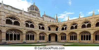 Mosteiro dos Jeronimos Cloister in Belem, Lisbon, Portugal