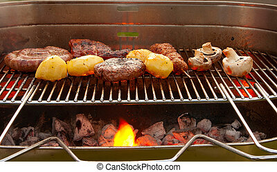 Barbecue with meat and vegetables - Cooking tastetful meat...