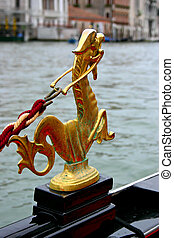 Gondola Gold Decoration - Gondola in the small canals of the...