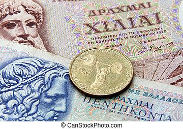 Grego, dracma, Dinheiro