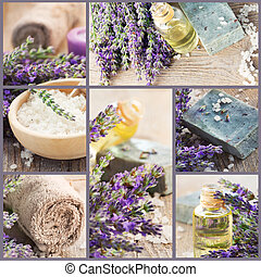 Fresh lavender collage - Wellness Spa collage of fresh...