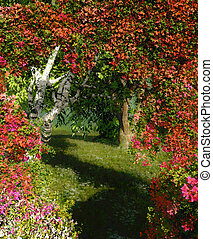 Passage - a landscape with bougainvillea, birch and weeping...