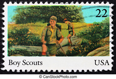 Postage stamp USA 1985 Boy scouts - UNITED STATES OF AMERICA...