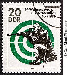 Postage stamp GDR 1986 Rifle Shooting - GDR - CIRCA 1986: a...