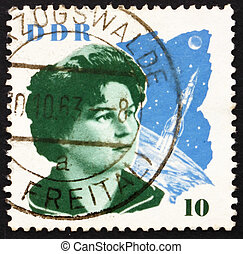 Postage stamp GDR 1963 Valentina Tereshkova and Space Craft...