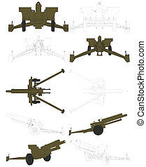 Cannon Howitzer Field Arttillery Vector