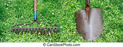 Metal Rake and Shovel - Metal Garden Rake and Shovel on top...