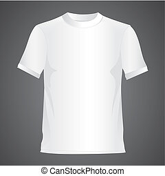 White T-shirt, isolated on black background, vector...