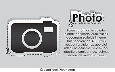 Camera label - Label with cut lines and the image of a...