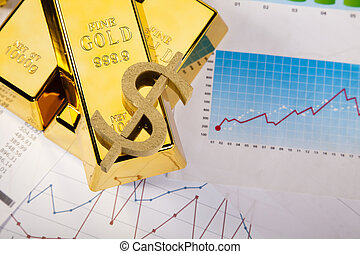 Office Concept, Gold bar - Financial indicators,Chart,Gold...