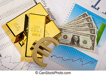 Gold Ingot on a Chart - Financial indicators,Chart,Gold...