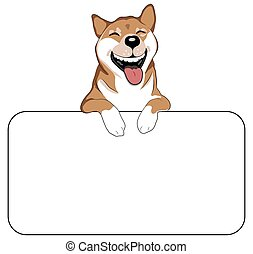 Laughing Dog Sign - An illustration of a laughing Shiba Inu...