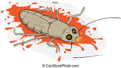 Squashed cockroach - Squashed a cockroach - vector...