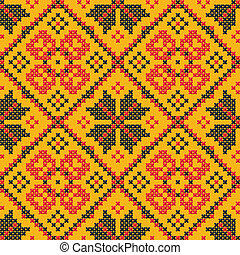 Seamless vector texture - Ukrainian cross-stitch ornament