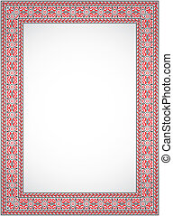 Vertical vector frame - cross stitch Ukrainian ornament -...