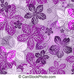Seamless floral gray pattern with violet vintage flowers...