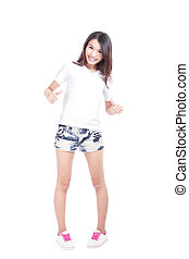 Young beauty girl show blank white T-shirt