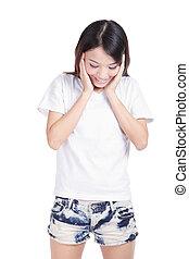 girl smile look her blank white T-shirt